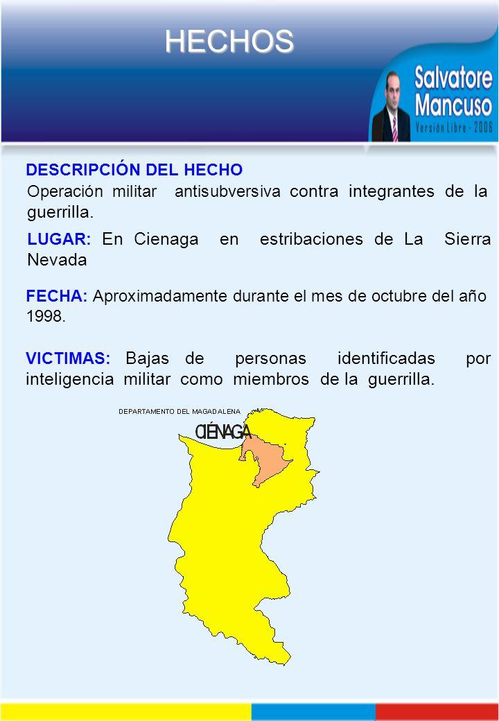DESCRIPCIÓN DEL HECHO Operación militar antisubversiva contra integrantes de la guerrilla.