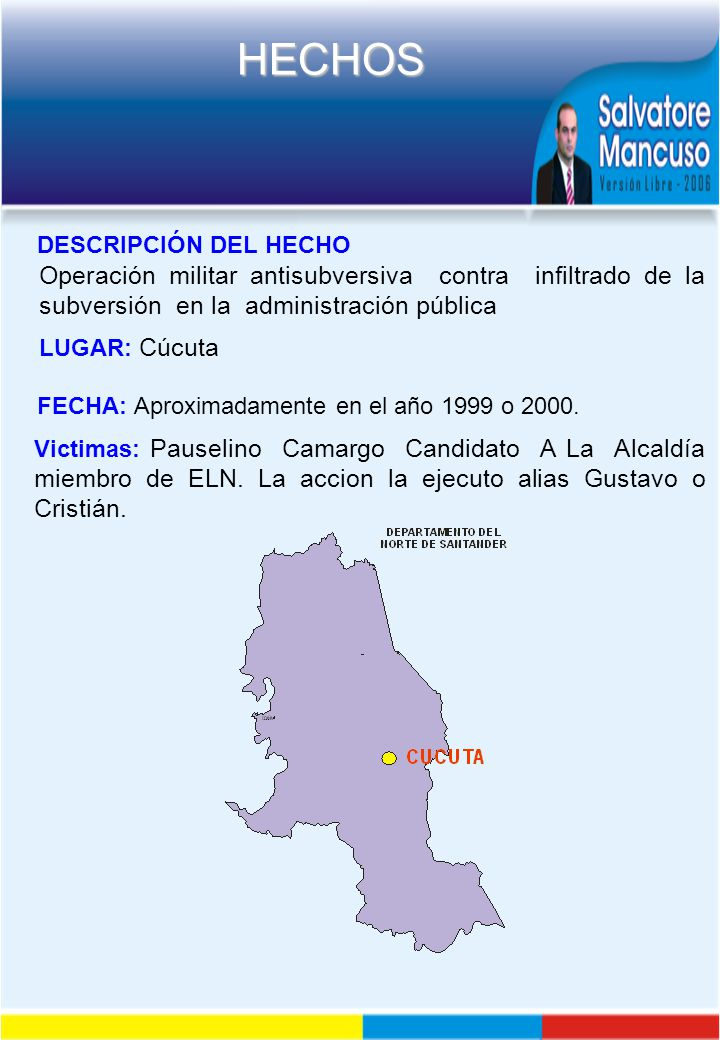 DESCRIPCIÓN DEL HECHO Operación militar antisubversiva contra infiltrado de la subversión en la administración pública.