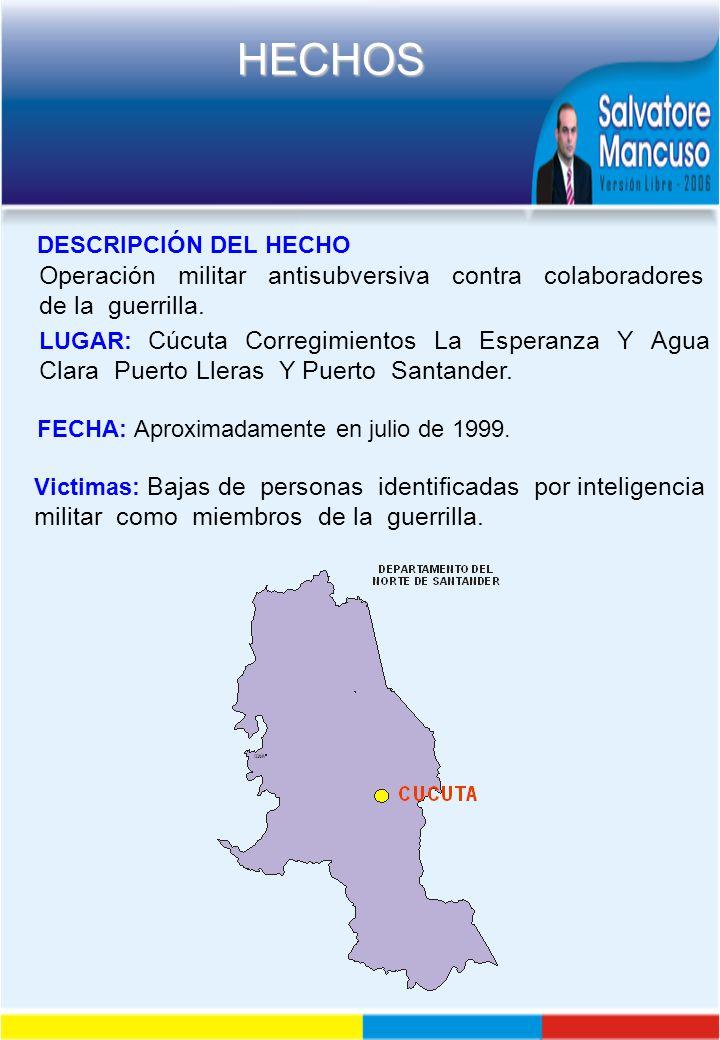 Operación militar antisubversiva contra colaboradores de la guerrilla.