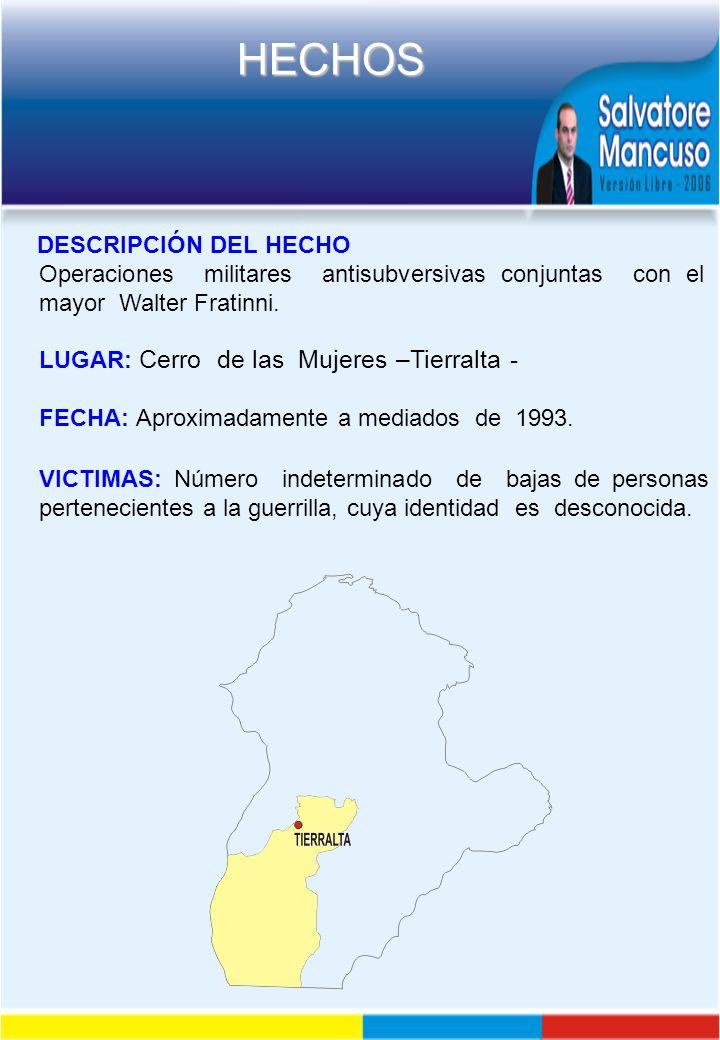 DESCRIPCIÓN DEL HECHO Operaciones militares antisubversivas conjuntas con el mayor Walter Fratinni.