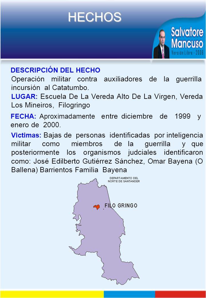 DESCRIPCIÓN DEL HECHO Operación militar contra auxiliadores de la guerrilla incursión al Catatumbo.