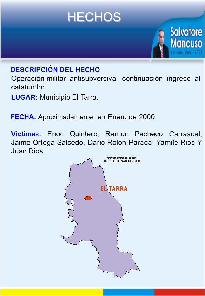 Operación militar antisubversiva continuación ingreso al catatumbo