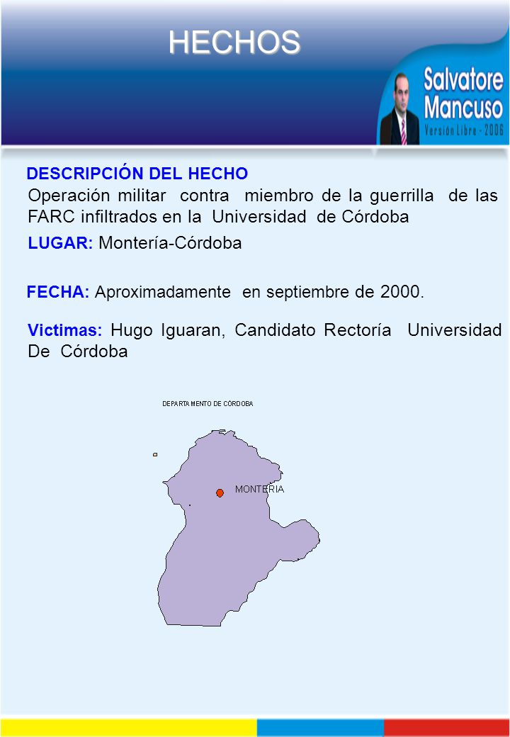 DESCRIPCIÓN DEL HECHO Operación militar contra miembro de la guerrilla de las FARC infiltrados en la Universidad de Córdoba.