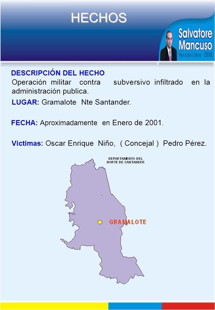 DESCRIPCIÓN DEL HECHO Operación militar contra subversivo infiltrado en la administración publica.