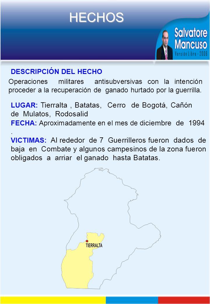 DESCRIPCIÓN DEL HECHO Operaciones militares antisubversivas con la intención proceder a la recuperación de ganado hurtado por la guerrilla.
