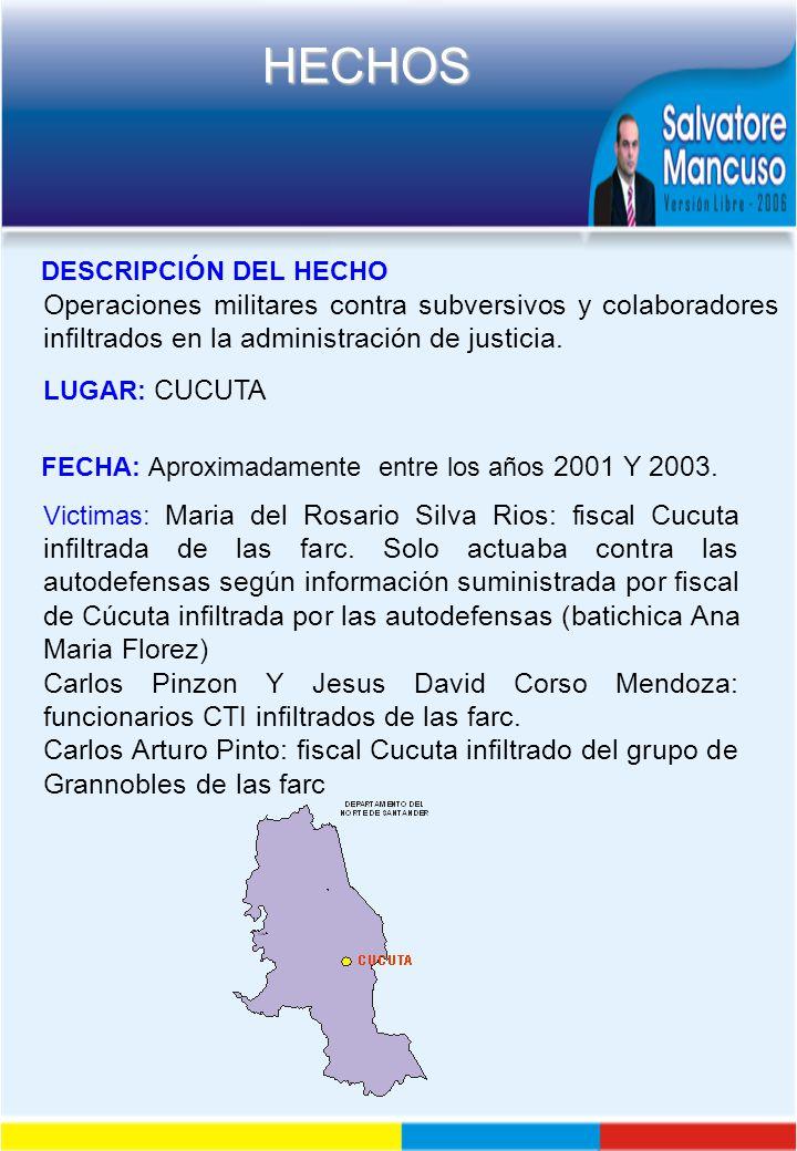 DESCRIPCIÓN DEL HECHO Operaciones militares contra subversivos y colaboradores infiltrados en la administración de justicia.