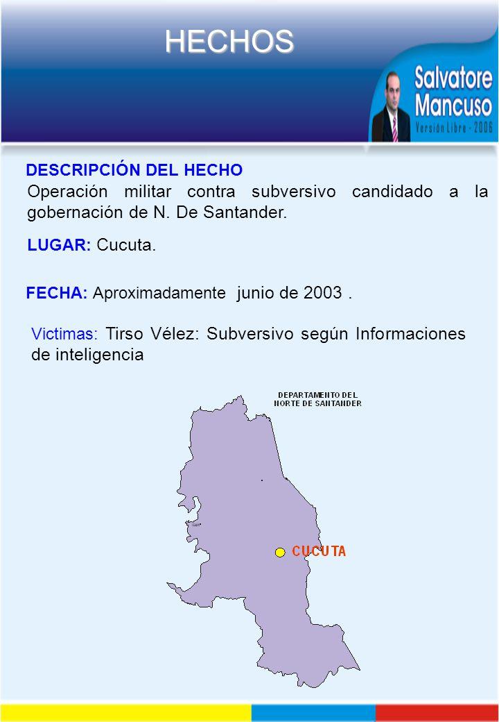 DESCRIPCIÓN DEL HECHO Operación militar contra subversivo candidado a la gobernación de N. De Santander.