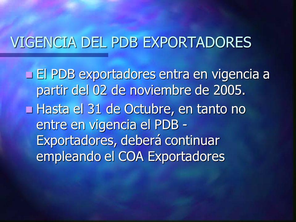 VIGENCIA DEL PDB EXPORTADORES