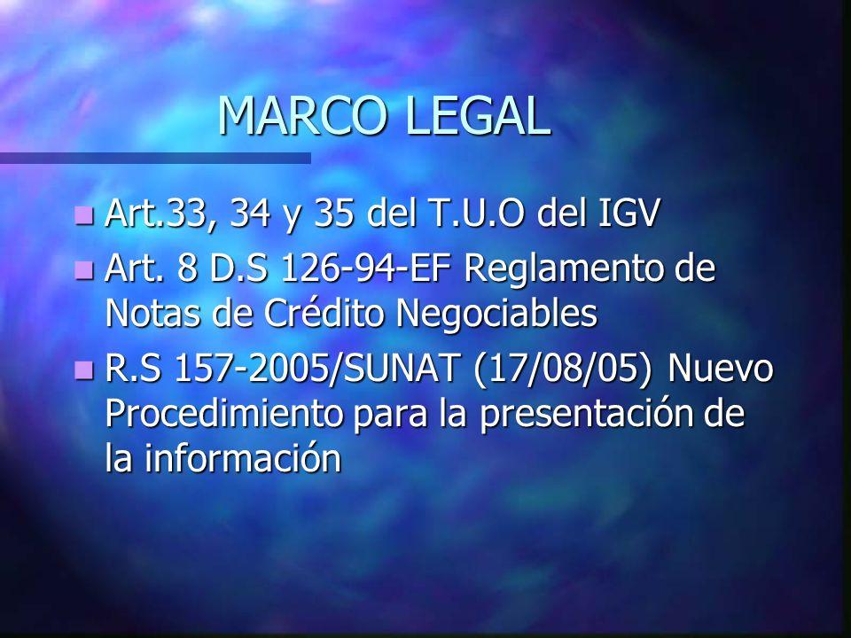 MARCO LEGAL Art.33, 34 y 35 del T.U.O del IGV