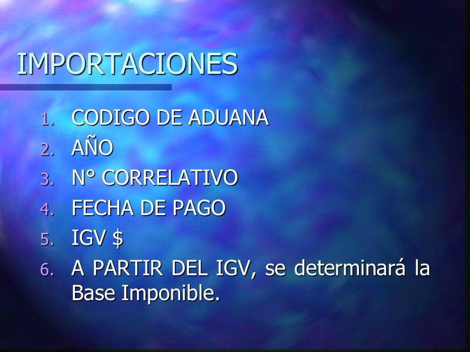 IMPORTACIONES CODIGO DE ADUANA AÑO N° CORRELATIVO FECHA DE PAGO IGV $