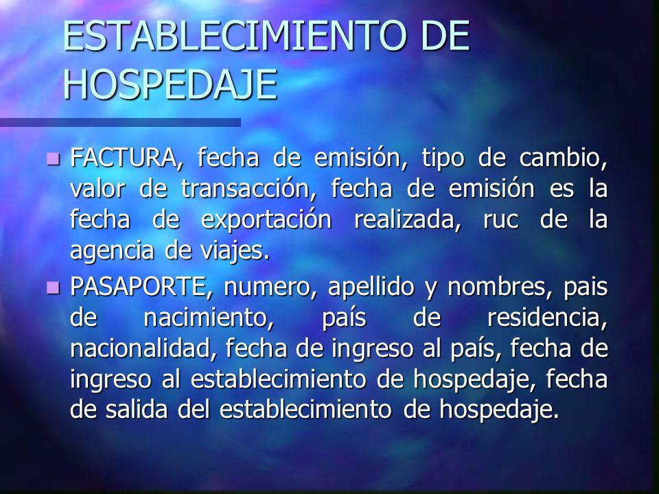 ESTABLECIMIENTO DE HOSPEDAJE
