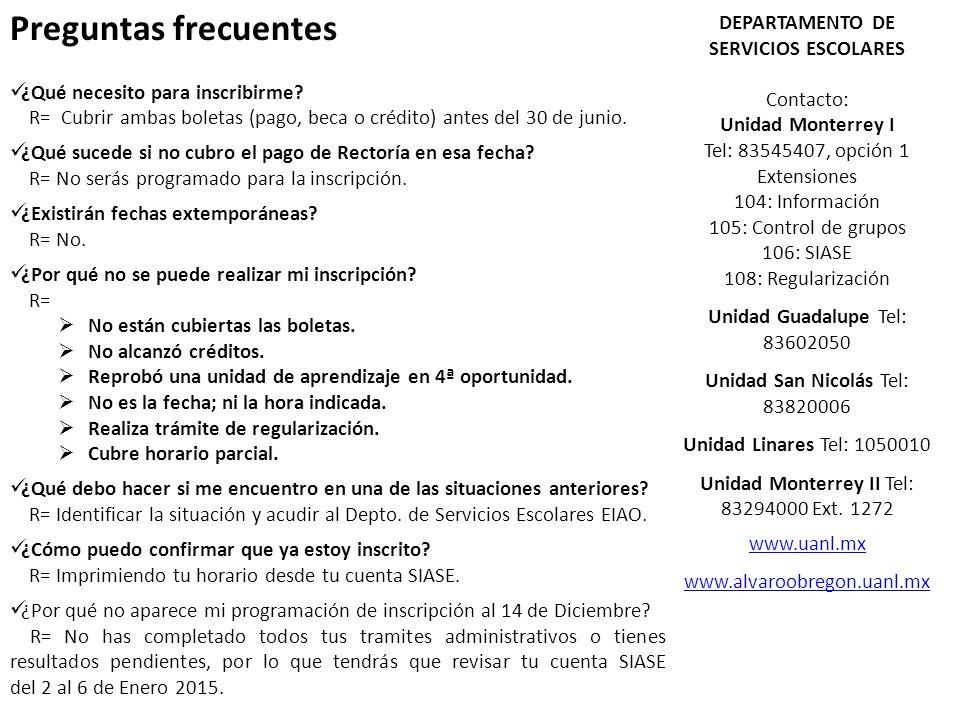 DEPARTAMENTO DE SERVICIOS ESCOLARES