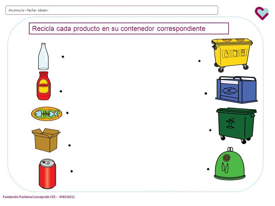 Recicla cada producto en su contenedor correspondiente