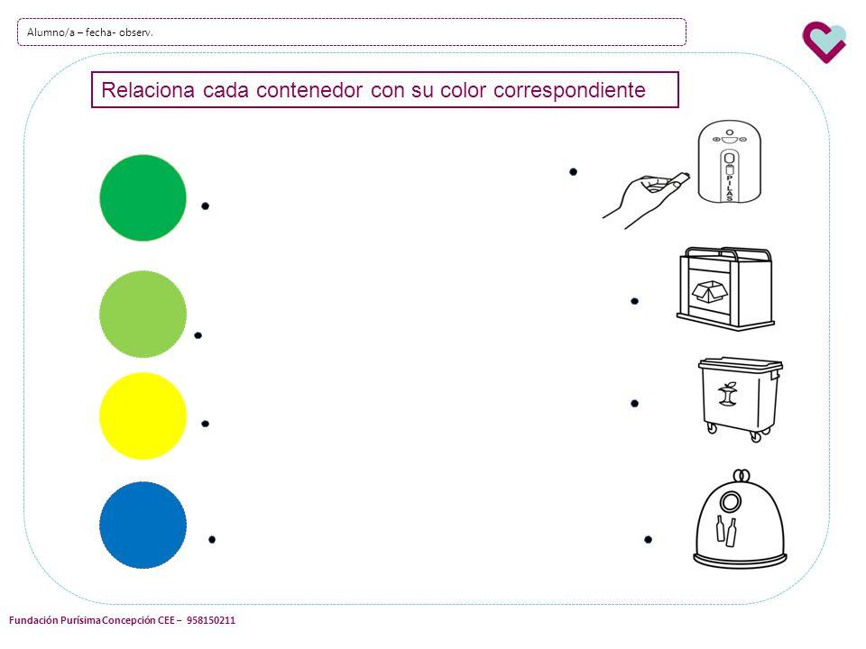 Relaciona cada contenedor con su color correspondiente