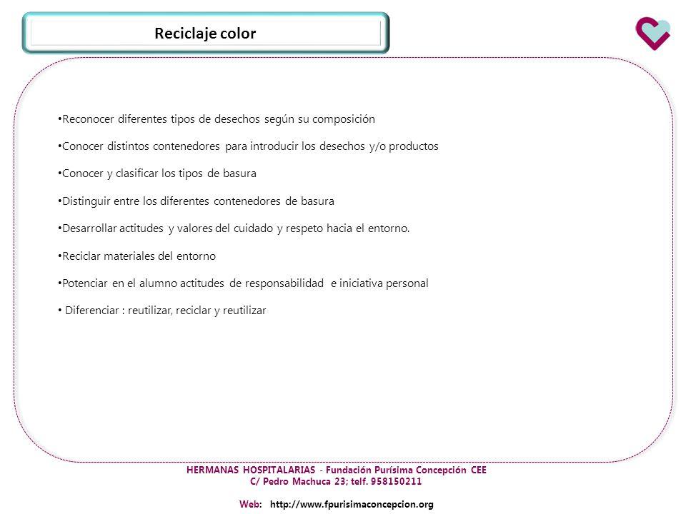 Reciclaje color Reconocer diferentes tipos de desechos según su composición.