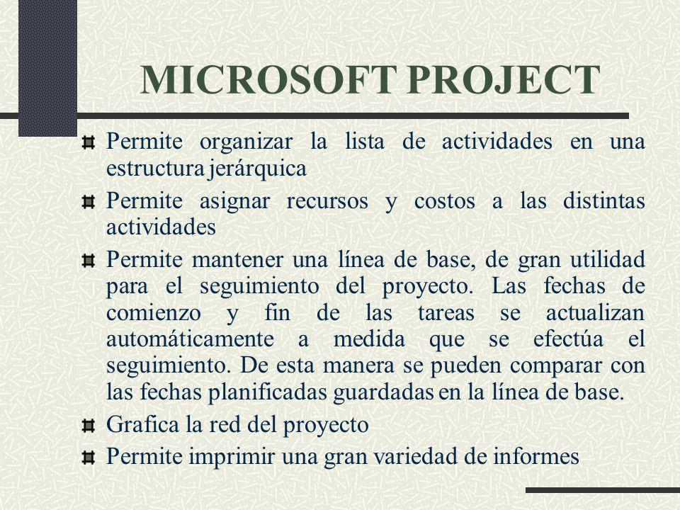 MICROSOFT PROJECT Permite organizar la lista de actividades en una estructura jerárquica.