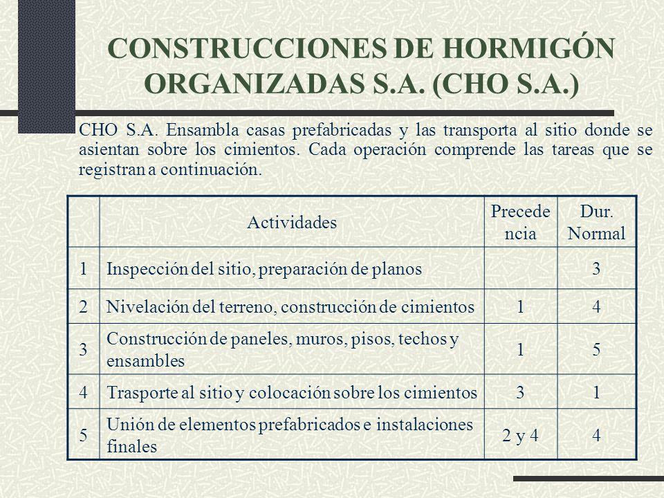 CONSTRUCCIONES DE HORMIGÓN ORGANIZADAS S.A. (CHO S.A.)