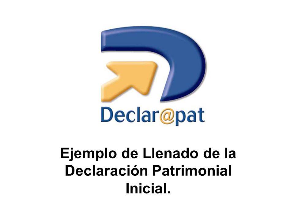 Ejemplo de Llenado de la Declaración Patrimonial Inicial.