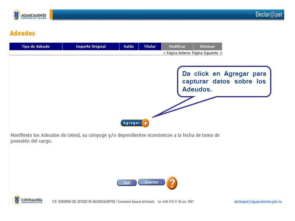 Da click en Agregar para capturar datos sobre los Adeudos.