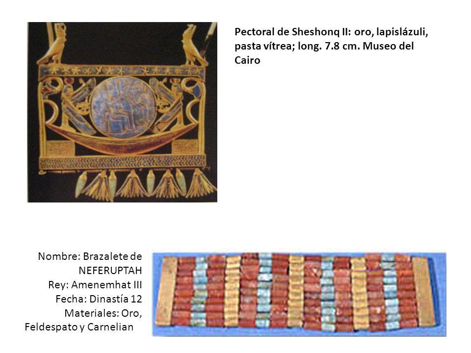 Pectoral de Sheshonq II: oro, lapislázuli, pasta vítrea; long. 7. 8 cm
