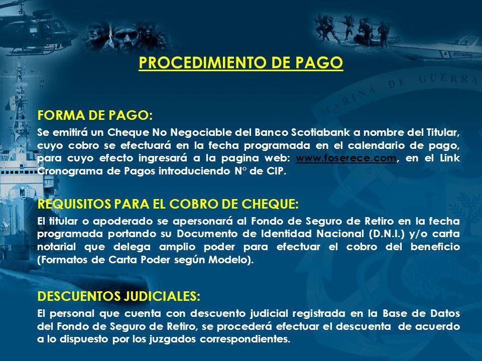 PROCEDIMIENTO DE PAGO FORMA DE PAGO: