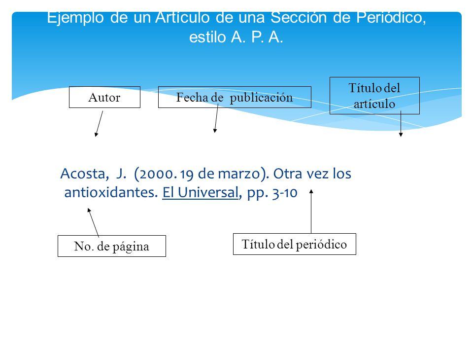 Ejemplo de un Artículo de una Sección de Periódico, estilo A. P. A.