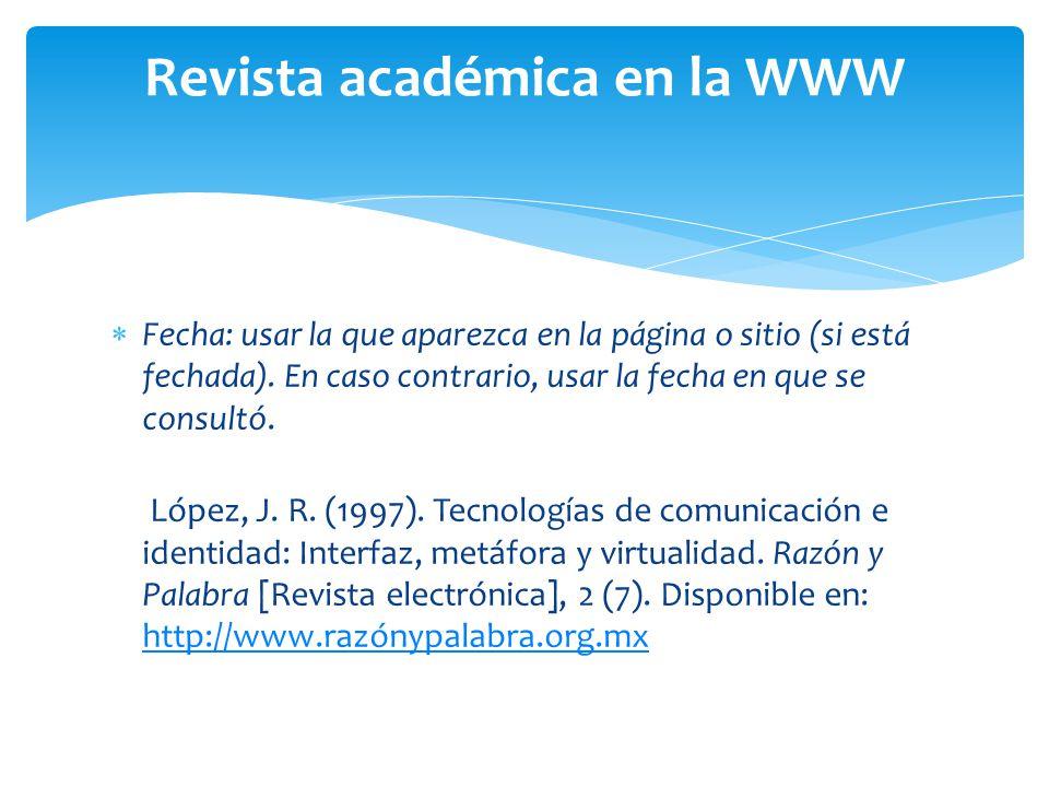 Revista académica en la WWW