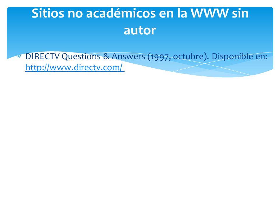 Sitios no académicos en la WWW sin autor