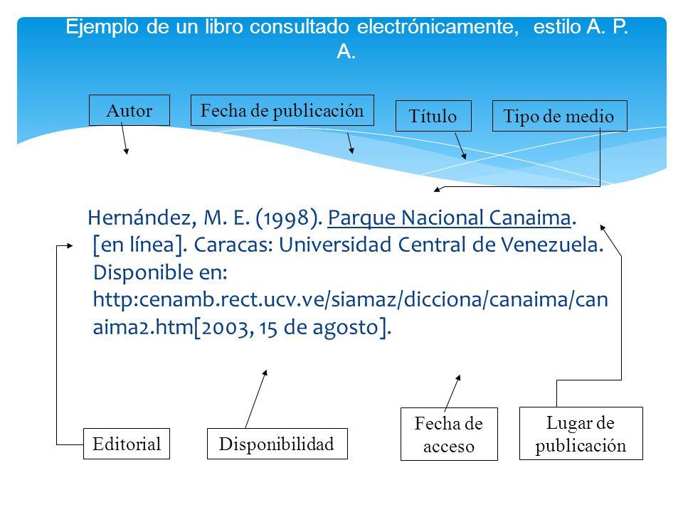 Ejemplo de un libro consultado electrónicamente, estilo A. P. A.