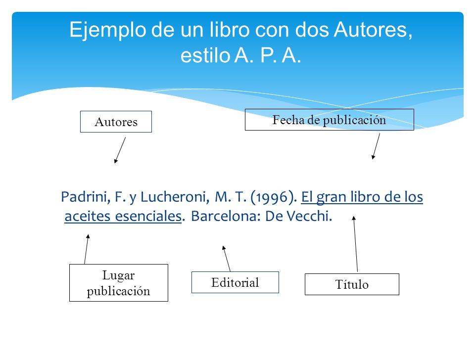 Ejemplo de un libro con dos Autores, estilo A. P. A.