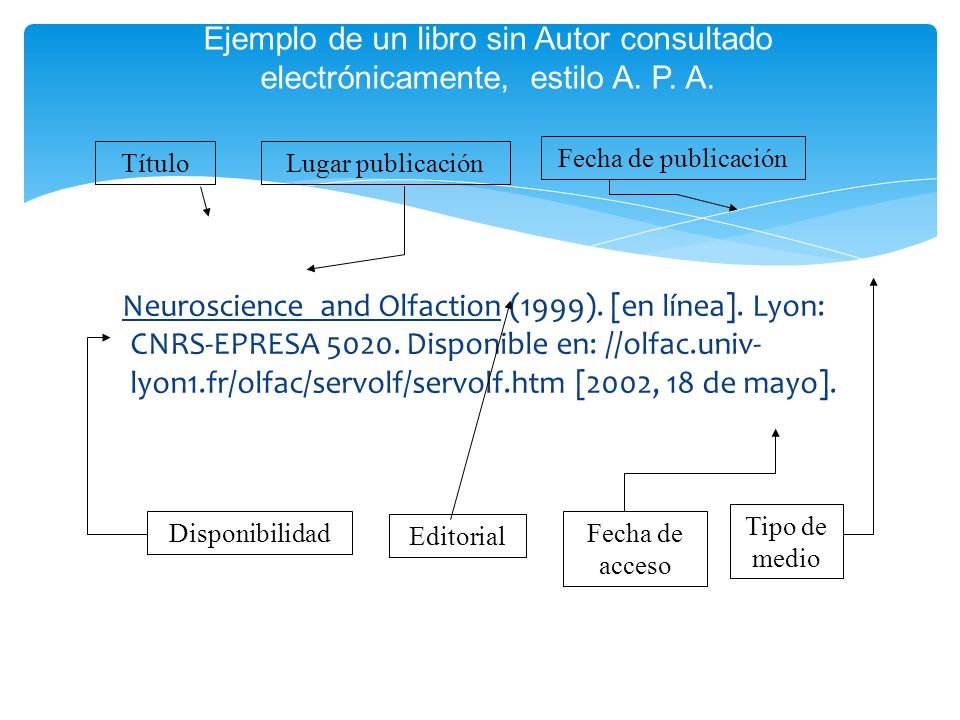 Ejemplo de un libro sin Autor consultado electrónicamente, estilo A. P