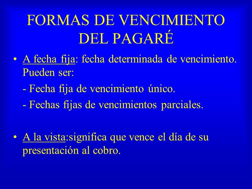 FORMAS DE VENCIMIENTO DEL PAGARÉ