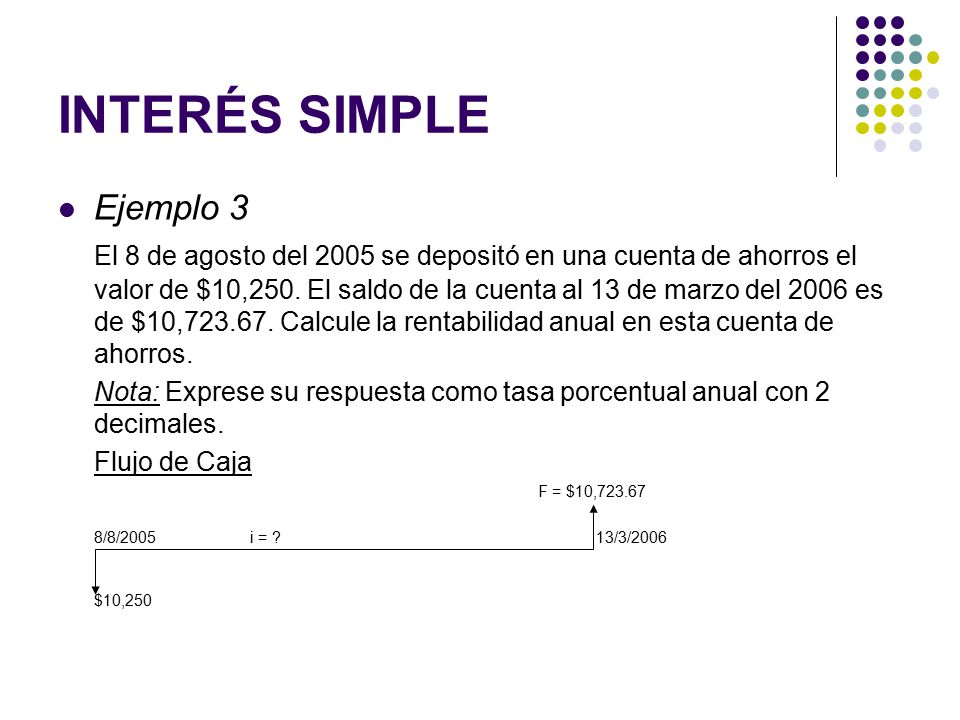 INTERÉS SIMPLE Ejemplo 3