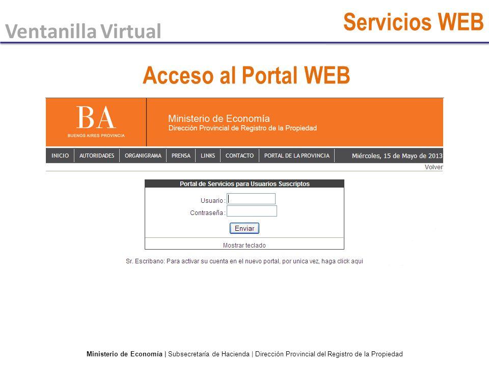 Servicios WEB Acceso al Portal WEB Ventanilla Virtual