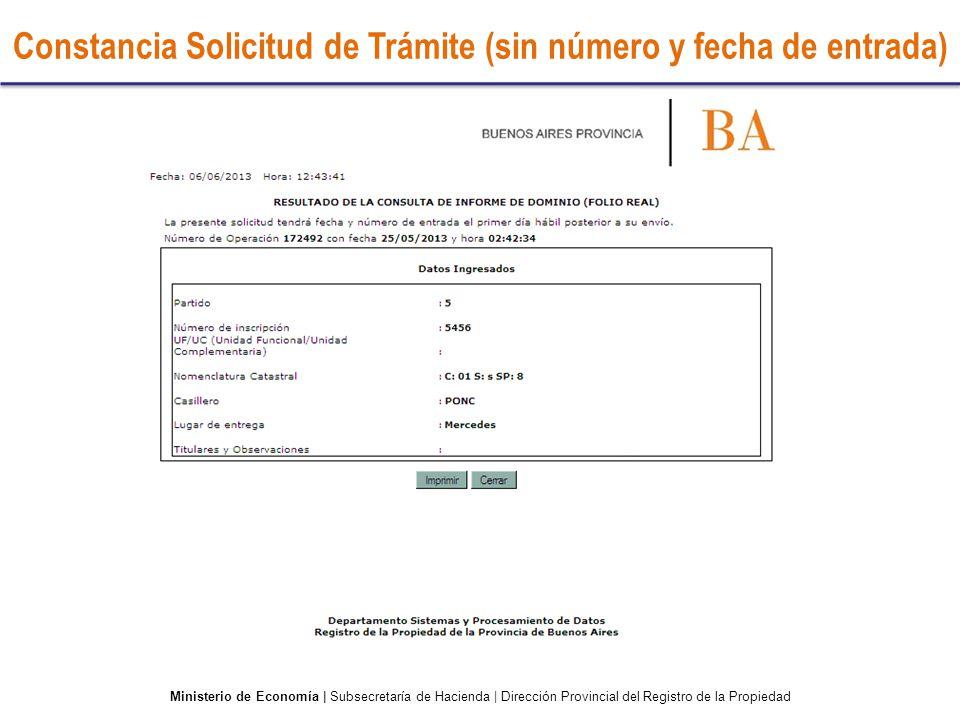 Constancia Solicitud de Trámite (sin número y fecha de entrada)