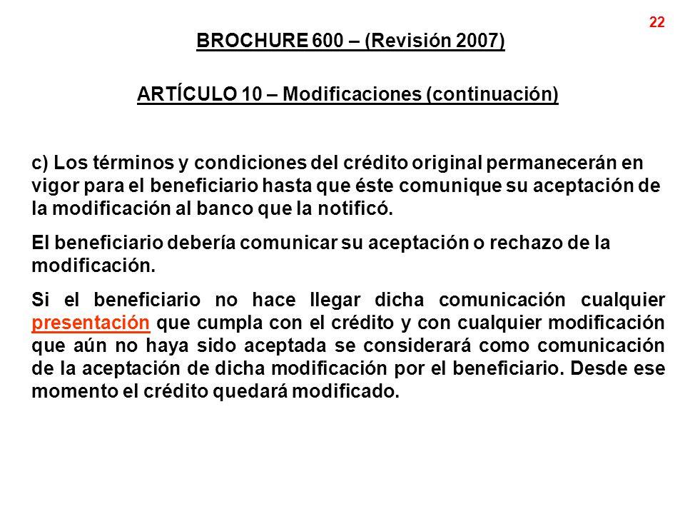 ARTÍCULO 10 – Modificaciones (continuación)