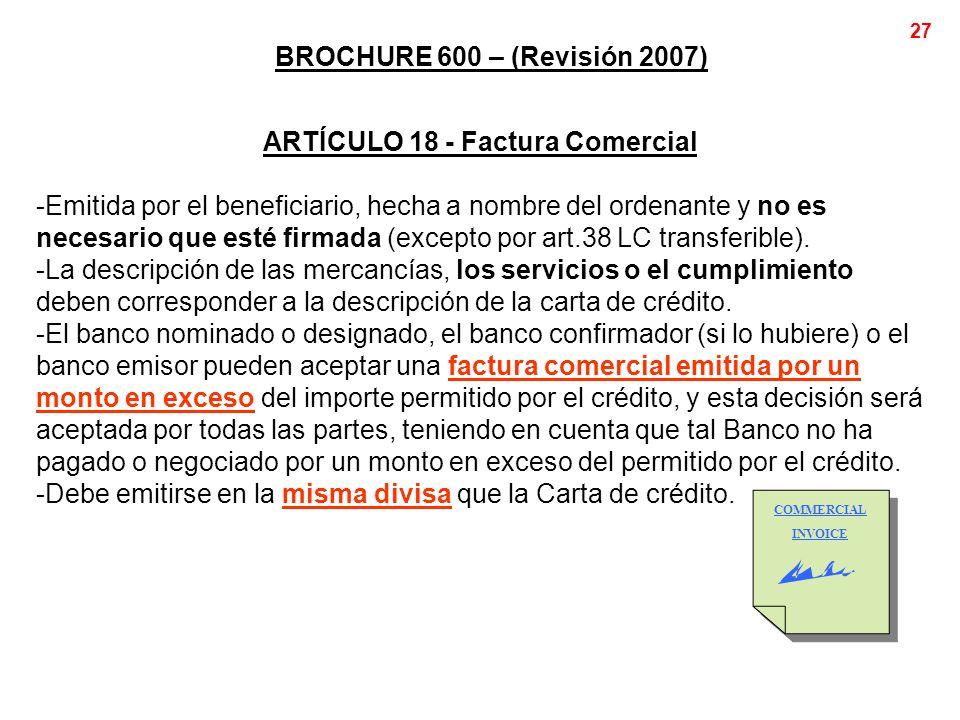 ARTÍCULO 18 - Factura Comercial