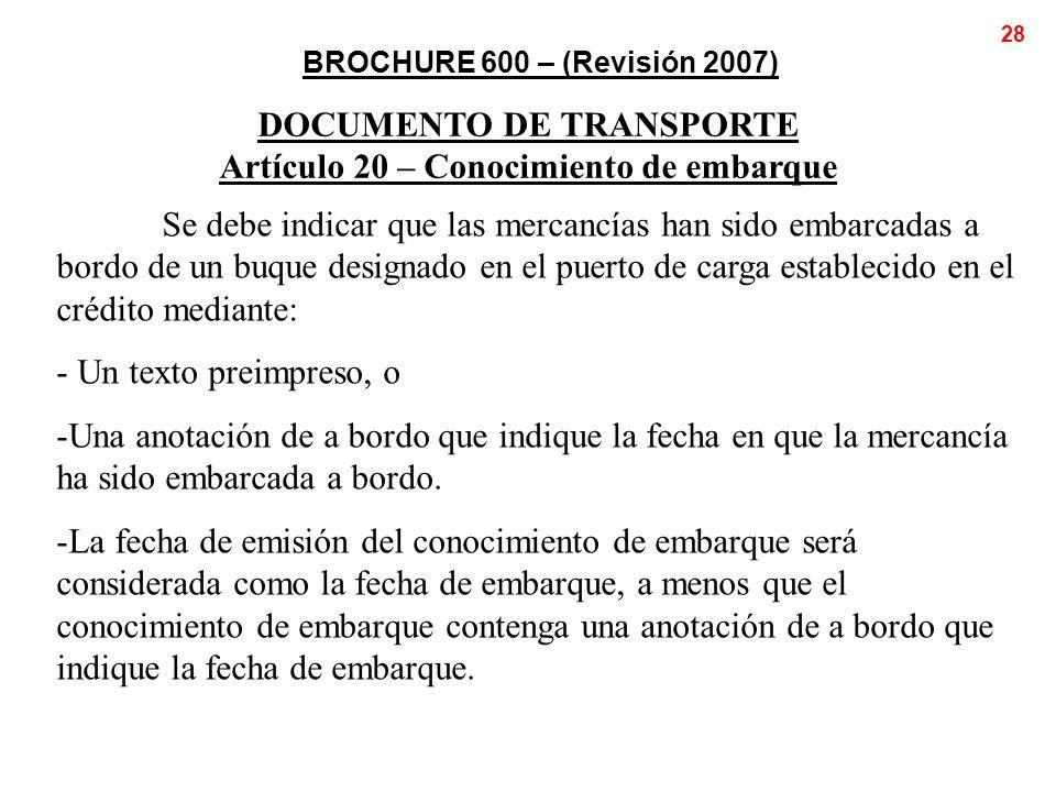 DOCUMENTO DE TRANSPORTE Artículo 20 – Conocimiento de embarque