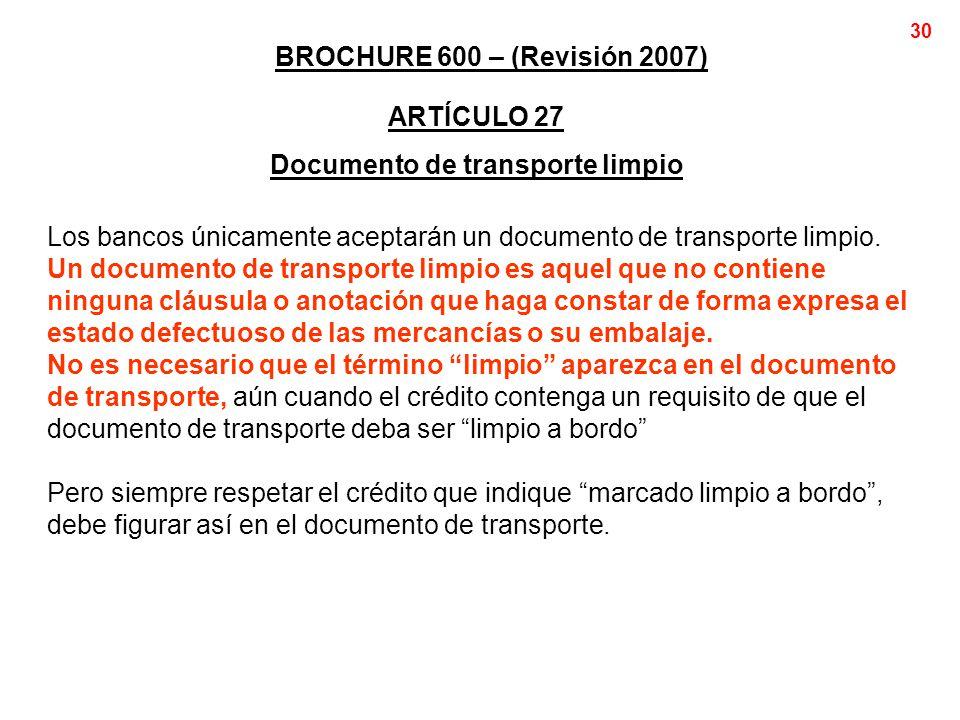 Documento de transporte limpio