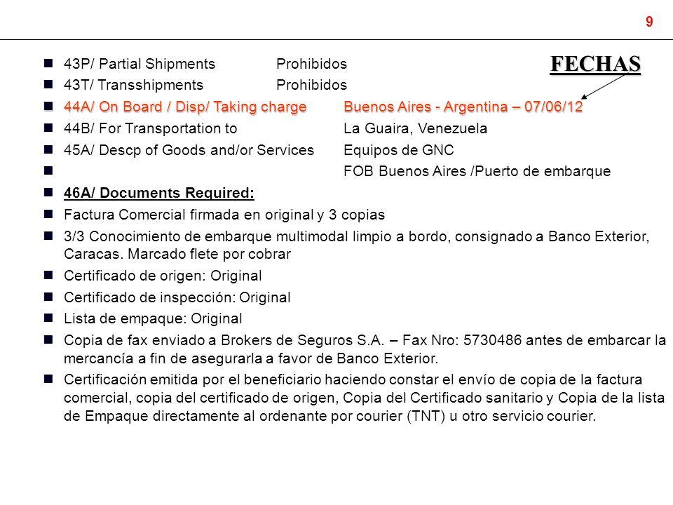 FECHAS 43P/ Partial Shipments Prohibidos