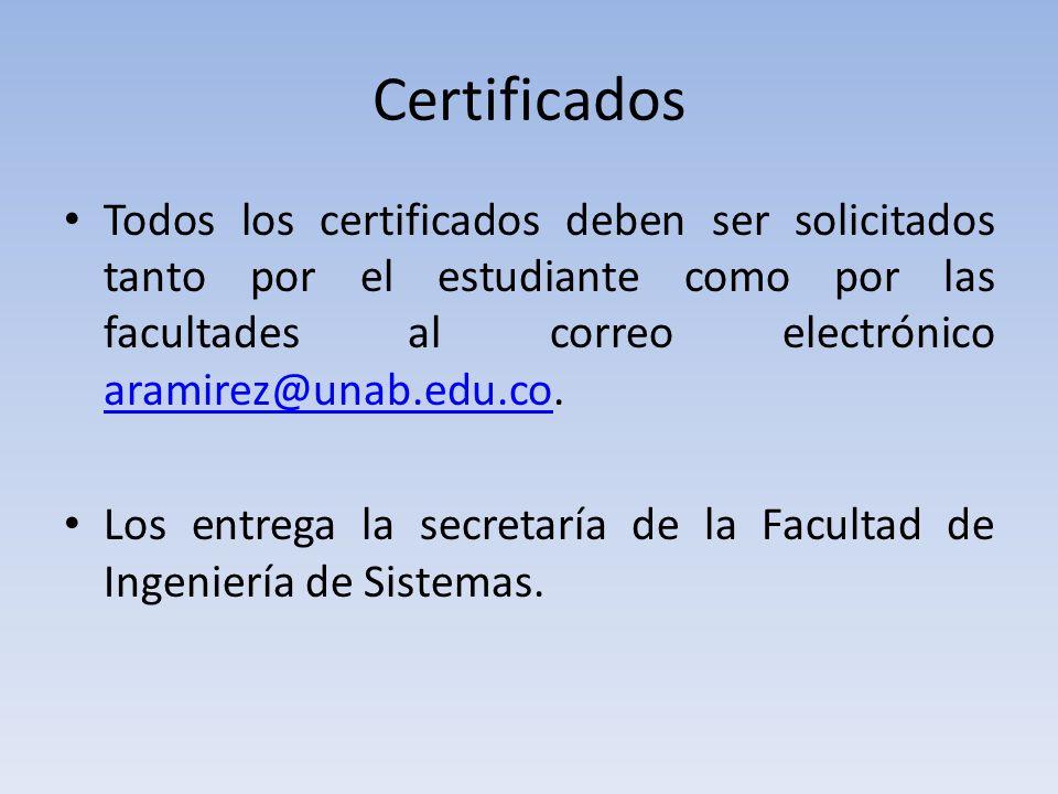 Certificados Todos los certificados deben ser solicitados tanto por el estudiante como por las facultades al correo electrónico aramirez@unab.edu.co.