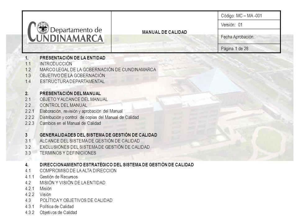 MANUAL DE CALIDAD Código: MC – MA -001. Versión: 01. Fecha Aprobación: Página 1 de 28. PRESENTACIÓN DE LA ENTIDAD.