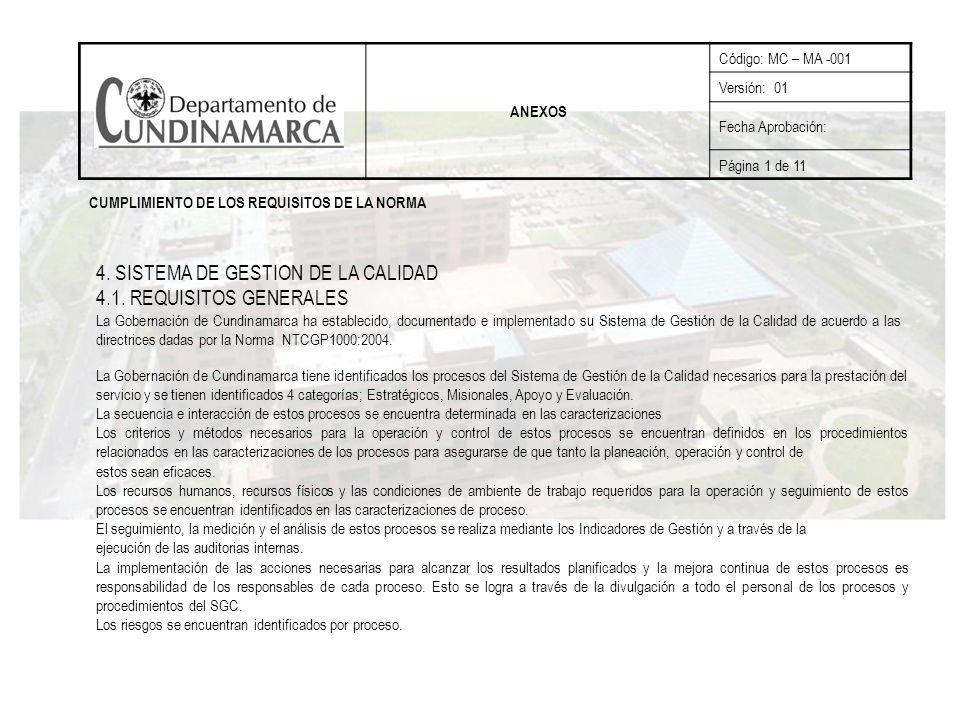 4. SISTEMA DE GESTION DE LA CALIDAD 4.1. REQUISITOS GENERALES