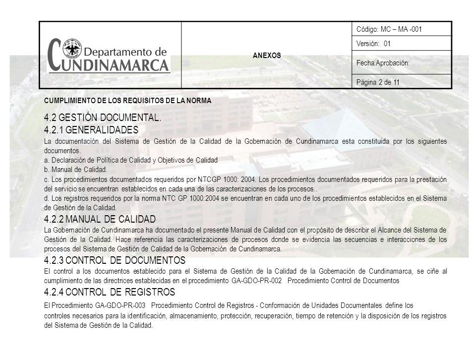 4.2 GESTIÓN DOCUMENTAL. 4.2.1 GENERALIDADES 4.2.2 MANUAL DE CALIDAD