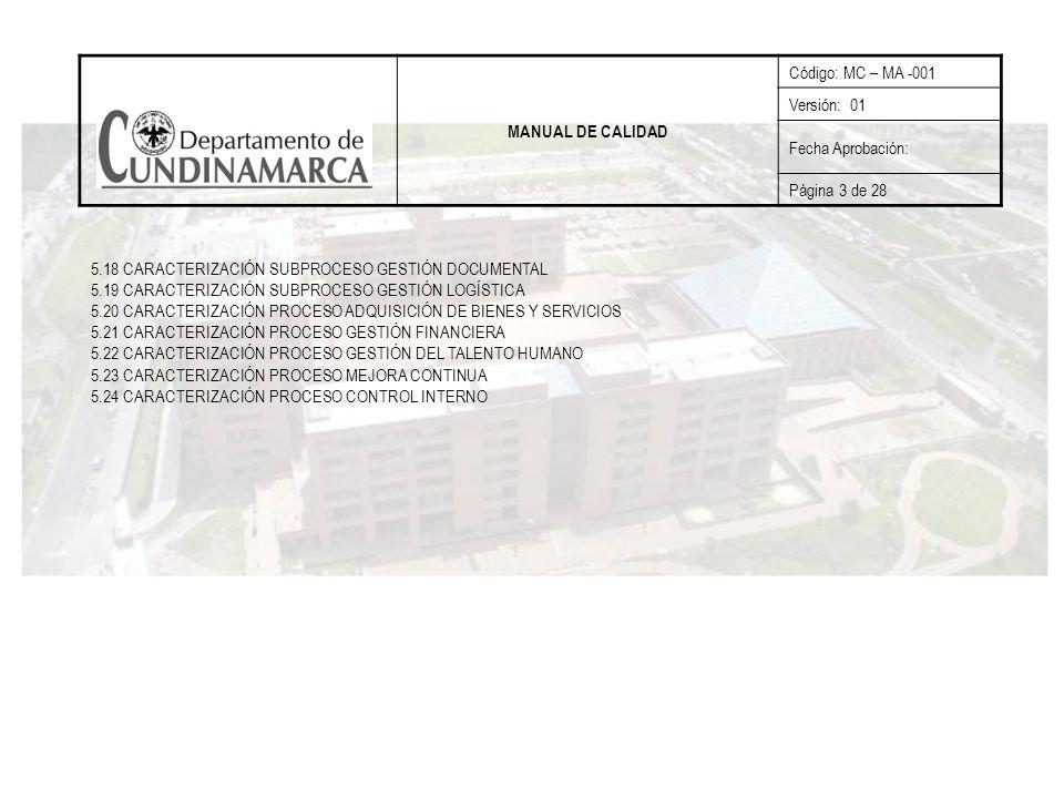 MANUAL DE CALIDAD Código: MC – MA -001. Versión: 01. Fecha Aprobación: Página 3 de 28.