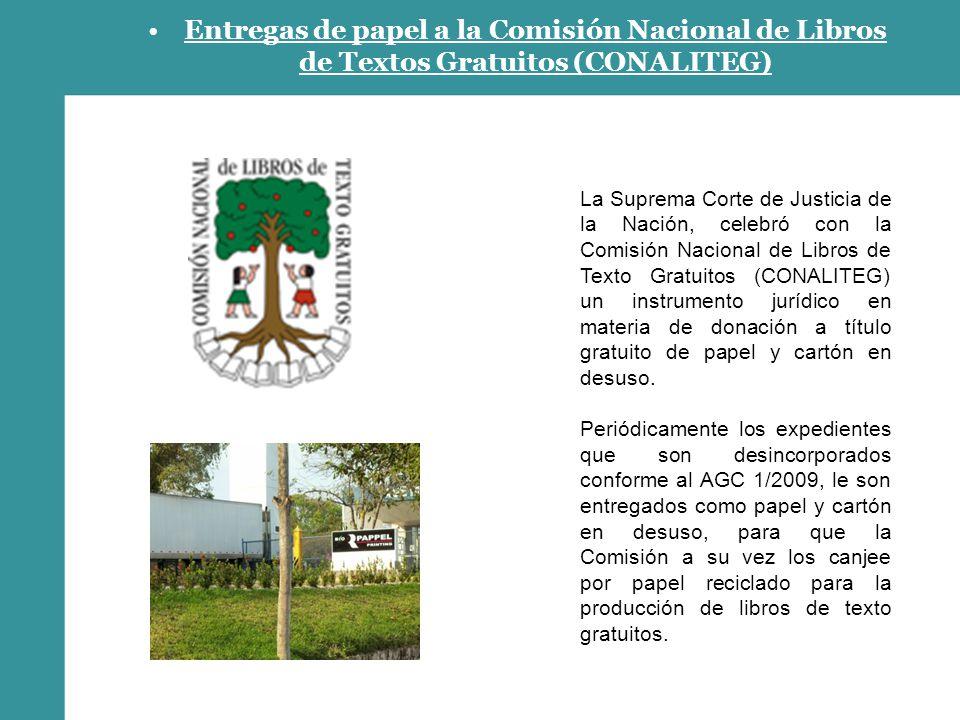Entregas de papel a la Comisión Nacional de Libros de Textos Gratuitos (CONALITEG)