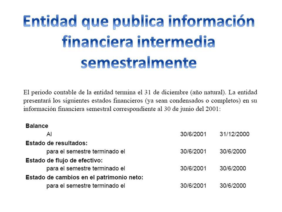 Entidad que publica información financiera intermedia semestralmente