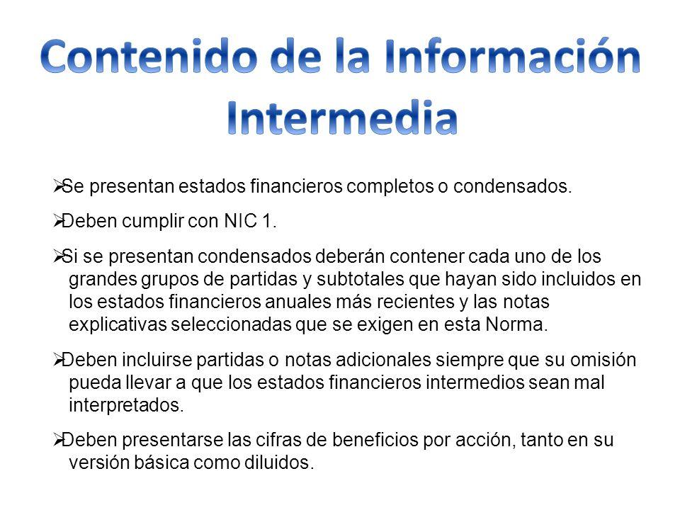 Contenido de la Información Intermedia