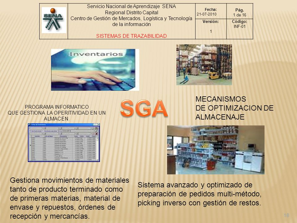 SGA MECANISMOS DE OPTIMIZACION DE ALMACENAJE