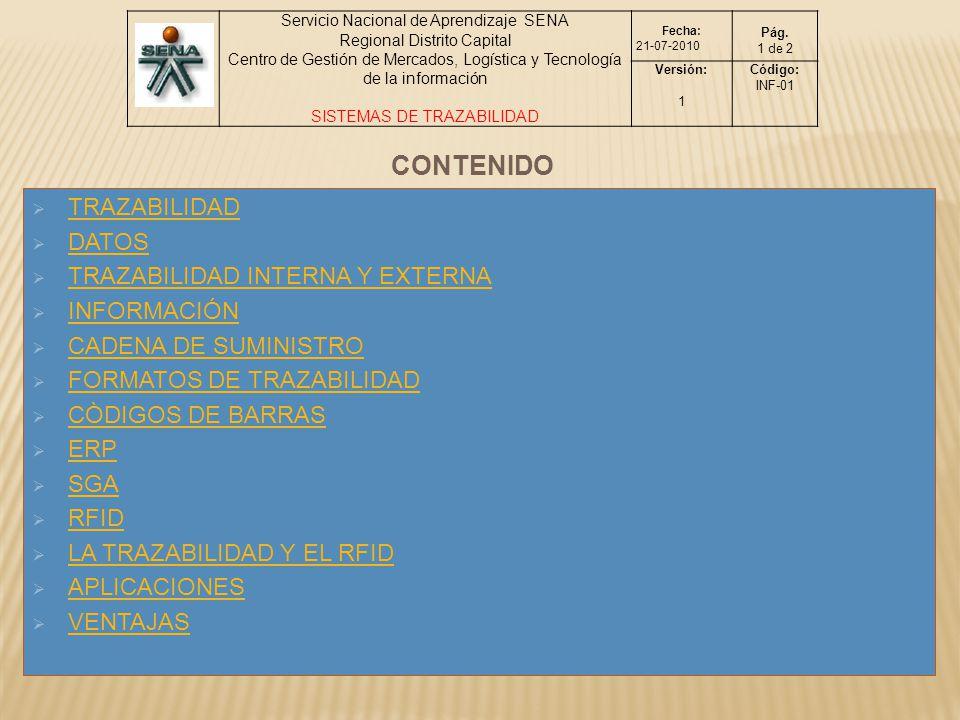 CONTENIDO TRAZABILIDAD DATOS TRAZABILIDAD INTERNA Y EXTERNA